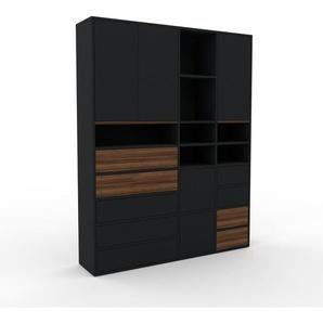 Meuble de rangements - Noir, design, pour documents, avec porte Noir et tiroir Noir - 154 x 195 x 35 cm