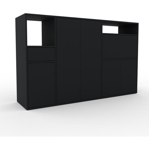 Meuble de rangements - Noir, design, pour documents, avec porte Noir et tiroir Noir - 190 x 118 x 47 cm