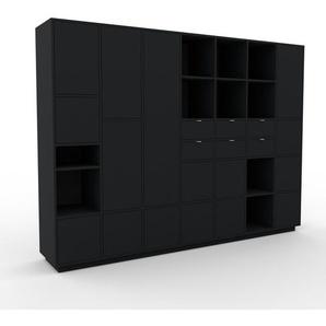 Meuble de rangements - Noir, design, pour documents, avec porte Noir et tiroir Noir - 272 x 200 x 47 cm