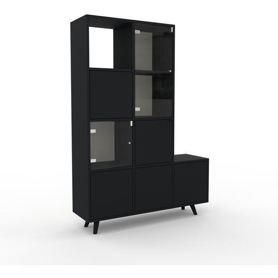 Meuble de rangements - Noir, design, pour documents, avec porte Verre clair transparent et tiroir Noir - 118 x 168 x 35 cm