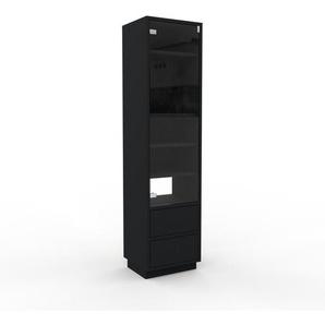 Meuble de rangements - Noir, design, pour documents, avec porte Verre clair transparent et tiroir Noir - 41 x 162 x 35 cm