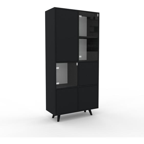 Meuble de rangements - Noir, design, pour documents, avec porte Verre clair transparent et tiroir Noir - 79 x 168 x 35 cm