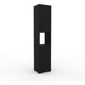 Meuble de rangements - noir, moderne, pour documents, avec porte noir - 41 x 196 x 35 cm, personnalisable