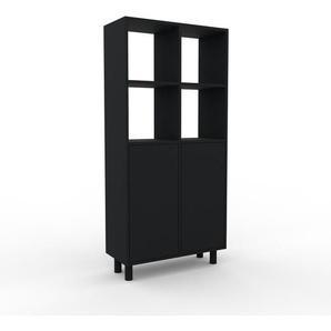 Meuble de rangements - noir, moderne, pour documents, avec porte noir - 79 x 168 x 35 cm, personnalisable