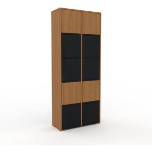 Meuble de rangements - Chêne, moderne, pour documents, avec porte Noir - 79 x 196 x 35 cm, personnalisable