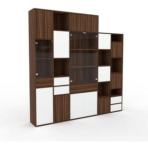 Meuble de rangements - Noyer, design, pour documents, avec porte Noyer et tiroir Blanc - 231 x 233 x 35 cm
