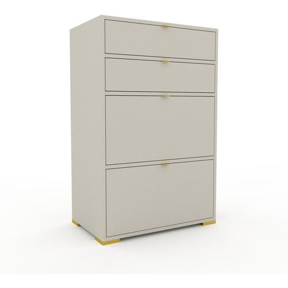 Meuble de rangements - Taupe avec des pieds dorés, contemporain, pour documents, avec tiroir Taupe - 77 x 120 x 47 cm, personnalisable