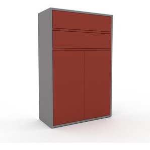 Meuble de rangements - Gris, design, pour documents, avec porte Rouge et tiroir Rouge - 77 x 118 x 35 cm