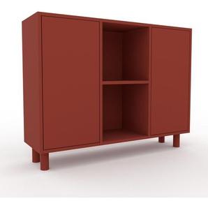 Meuble de rangements - Rouge, moderne, pour documents, avec porte Rouge - 118 x 91 x 35 cm, personnalisable
