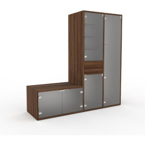 Meuble de rangements - Verre clair dépoli, design, pour documents, avec porte Verre clair dépoli et tiroir Noyer - 154 x 157 x 47 cm