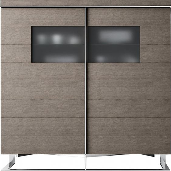 Meuble design chêne gris 4 portes verre fumé pieds inox