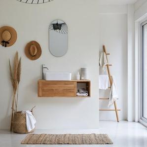 Meuble Salle de bain suspendu bois de Teck 95 Basic