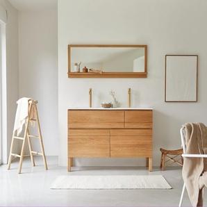 Meuble Salle de bain en bois de chêne et céramique 120 Easy