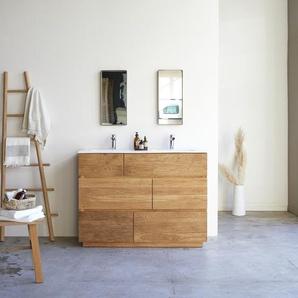 Meuble Salle de bain en bois de chêne et céramique 120 Karl