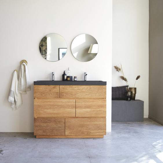 Meuble Salle de bain en bois de chêne et pierre de lave 120 Karl
