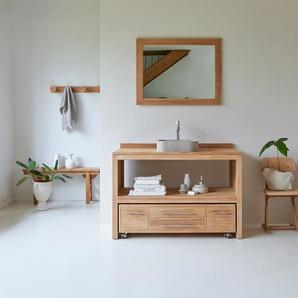Meuble Salle de bain en bois de teck brut 120 Layang