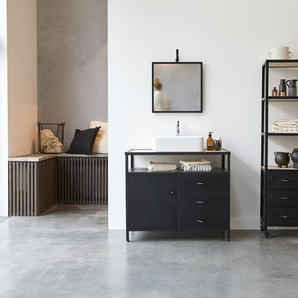 Meuble Salle de bain en métal et bois de manguier 95 Industriel