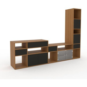 Meuble TV - Anthracite, design, meuble hifi, multimedia, avec porte Anthracite et tiroir Anthracite - 267 x 195 x 47 cm
