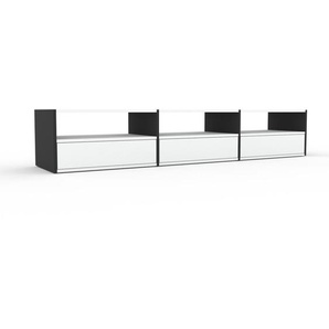 Meuble TV - Anthracite, contemporain, meuble hifi, multimedia raffiné, avec tiroir Blanc - 226 x 41 x 47 cm, configurable