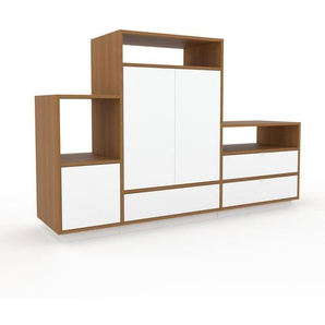 Meuble TV - chêne, design, meuble hifi, multimedia, avec porte blanc et tiroir blanc - 190 x 124 x 47 cm