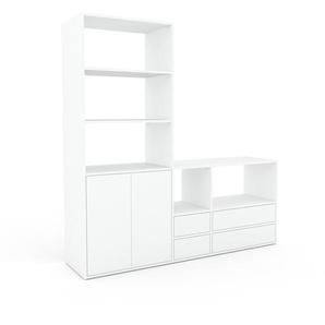 Meuble TV - blanc, design, meuble hifi, multimedia, avec porte blanc et tiroir blanc - 190 x 195 x 47 cm