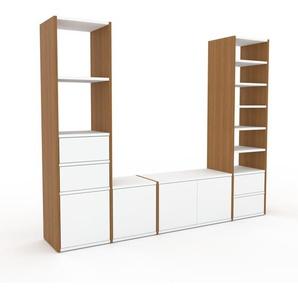Meuble TV - Chêne, design, meuble hifi, multimedia, avec porte Blanc et tiroir Blanc - 193 x 157 x 35 cm