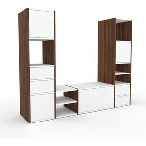 Meuble TV - noyer, design, meuble hifi, multimedia, avec porte blanc et tiroir blanc - 193 x 157 x 47 cm