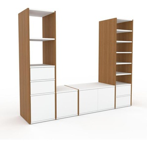 Meuble TV - Chêne, design, meuble hifi, multimedia, avec porte Blanc et tiroir Blanc - 193 x 157 x 47 cm