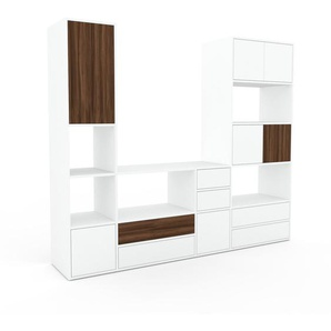Meuble TV - blanc, design, meuble hifi, multimedia, avec porte blanc et tiroir blanc - 229 x 195 x 47 cm