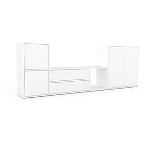 Meuble TV - Blanc, design, meuble hifi, multimedia, avec porte Blanc et tiroir Blanc - 229 x 80 x 35 cm