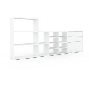 Meuble TV - Blanc, design, meuble hifi, multimedia, avec porte Blanc et tiroir Blanc - 267 x 118 x 35 cm