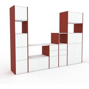 Meuble TV - rouge, design, meuble hifi, multimedia, avec porte blanc et tiroir blanc - 267 x 195 x 47 cm