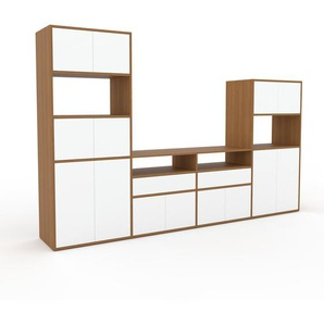 Meuble TV - chêne, design, meuble hifi, multimedia, avec porte blanc et tiroir blanc - 301 x 195 x 47 cm