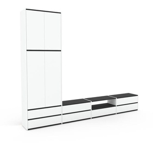 Meuble TV - Blanc, design, meuble hifi, multimedia, avec porte Blanc et tiroir Blanc - 301 x 234 x 35 cm