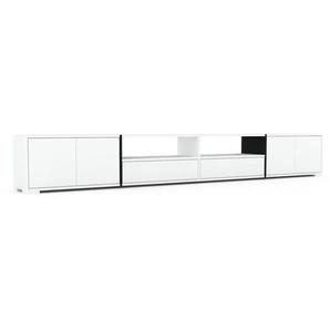 Meuble TV - Blanc, design, meuble hifi, multimedia, avec porte Blanc et tiroir Blanc - 301 x 43 x 35 cm