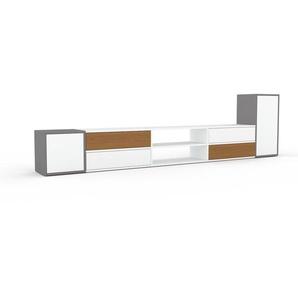 Meuble TV - Gris, design, meuble hifi, multimedia, avec porte Blanc et tiroir Blanc - 303 x 80 x 35 cm