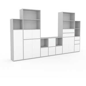 Meuble TV - Blanc, design, meuble hifi, multimedia, avec porte Blanc et tiroir Blanc - 344 x 195 x 35 cm