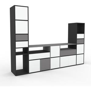 Meuble TV - anthracite, design, meuble hifi, multimedia, avec porte blanc et tiroir gris - 267 x 195 x 47 cm