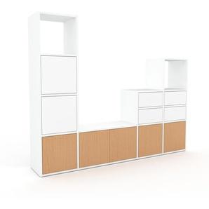 Meuble TV - Blanc, design, meuble hifi, multimedia, avec porte Hêtre et tiroir Blanc - 193 x 157 x 35 cm