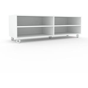 Meuble TV - Blanc, design, meuble hifi, multimedia sophistiqué, pratique - 152 x 49 x 47 cm, personnalisable