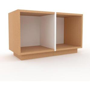 Meuble TV en hêtre, bois massif, aspect naturel, meuble hifi et multimedia de qualité - 79 x 47 x 35 cm, modulable