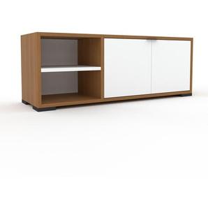 Meuble TV - Chêne, moderne, meuble hifi et multimedia, élégant, avec porte Blanc - 116 x 43 x 35 cm, configurable