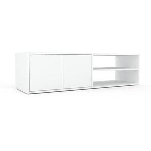 Meuble TV - Blanc, moderne, meuble hifi et multimedia, élégant, avec porte Blanc - 152 x 41 x 47 cm, configurable
