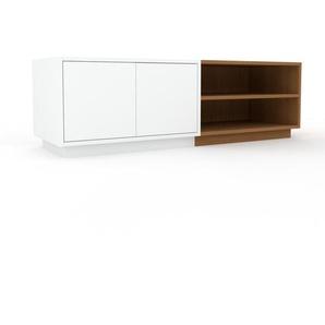 Meuble TV - Blanc, moderne, meuble hifi et multimedia, élégant, avec porte Blanc - 152 x 47 x 47 cm, configurable