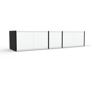 Meuble TV - Noir, moderne, meuble hifi et multimedia, élégant, avec porte Blanc - 190 x 41 x 47 cm, configurable