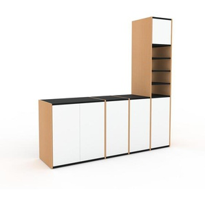 Meuble TV - Hêtre, moderne, meuble hifi et multimedia, élégant, avec porte Blanc - 193 x 195 x 47 cm, configurable