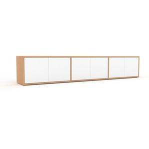 Meuble TV - Hêtre, moderne, meuble hifi et multimedia, élégant, avec porte Blanc - 226 x 41 x 35 cm, configurable