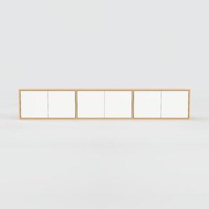 Meuble TV - Hêtre, moderne, meuble hifi et multimedia, élégant, avec porte Blanc - 226 x 41 x 47 cm, configurable