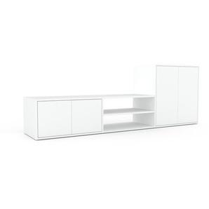 Meuble TV - Blanc, moderne, meuble hifi et multimedia, élégant, avec porte Blanc - 226 x 80 x 47 cm, configurable