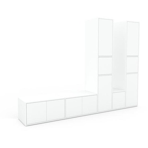 Meuble TV - Blanc, moderne, meuble hifi et multimedia, élégant, avec porte Blanc - 267 x 195 x 47 cm, configurable